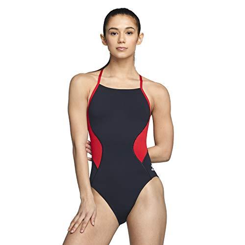 Speedo Women's Swimsuit One Piece Endurance+ Cross Back Solid Adult Spark Black/Red, 34