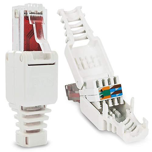 6 Stück Netzwerkstecker werkzeuglos RJ45 CAT6 LAN UTP Kabel Stecker ohne Werkzeug werkzeugfrei CAT5 CAT7 Toolless Modular Plug Connector Crimpstecker