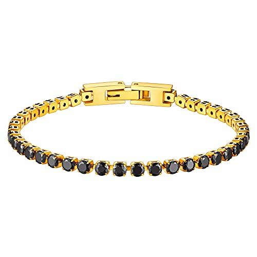 ChainsHouse 18K Oro Pulsera de Diamantes Artificiales con Broche Presion para Mujeres Hombres, 19cm Largo
