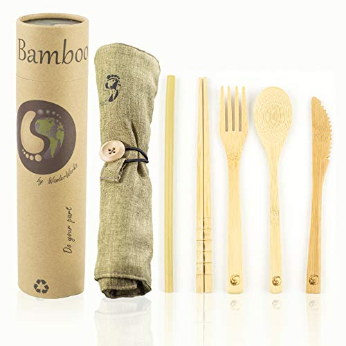 Bamboo Travel Utensil Set with Carrying Case, Sustainable, Eco Friendly Cutlery Flatware Set, Reusable and Portable