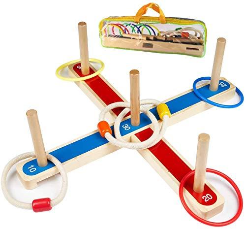 Ulifeme Anillas Juego de Lanzamiento, Juegos Exterior para Niños y Adultos, 5 Piezas Anillos de Cuerda de Madera + 8 Pcs Anillos Plásticos Colurful para Juegos de Punteria, 2 Formas Jugando con Bolsa