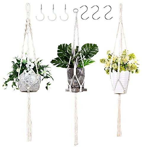 Plant Hangers Indoor, Macrame Plant Hangers, Boho Plant Hanger for Home Decor, 3 Pack Handmade Rope...