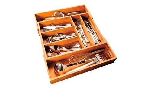 KHG Besteckkasten Schubladeneinsatz Universal Bambus Ausziehbar 31-54 x 40 x 7 cm Höhe 5-7 Fächer