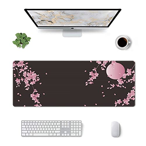 Sakura Cherry Blossom Extended Gaming Mouse Pad Non-Slip Rubber Base Pink Large Mousepad 31.5x11.8in with Stitched Edge Waterproof Flower Keyboard Pads Black Desk Laptop Mats for Work/Game/Office