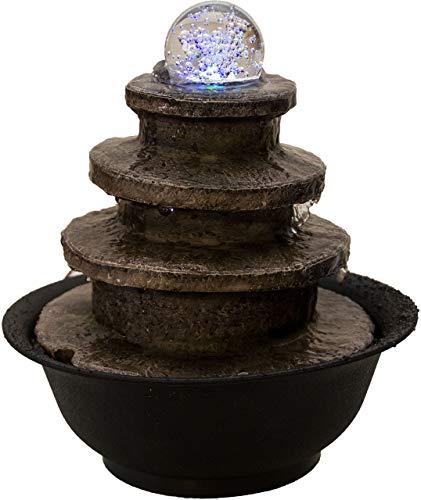 Nativ Zimmerbrunnen mit LED-Beleuchtung, Indoor-Brunnen aus Polyresin mit Pumpe und Beleuchtung, Kugel, 21 x 21 x 24 cm