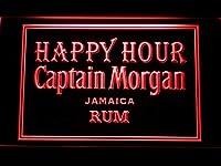Captain Morgan Jamica Rum Happy Hour LED看板 ネオンサイン ライト 電飾 広告用標識 W30cm x H20cm レッド