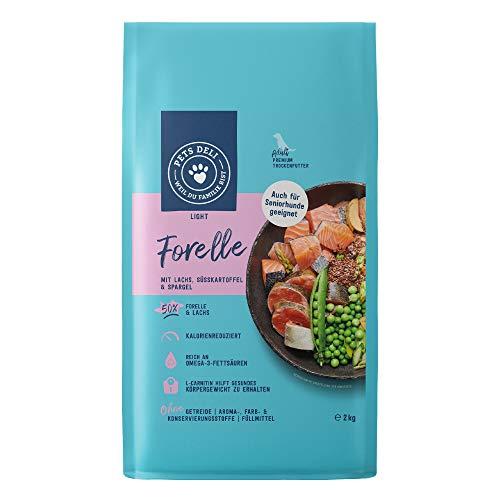 Hundefutter trocken 2 kg   Premium-Qualität   Forelle und Lachs mit Süßkartoffel und Spargel   Light Trockenfutter für Hunde mit 50% Fischanteil, getreidefrei und ohne unnötige Zusätze