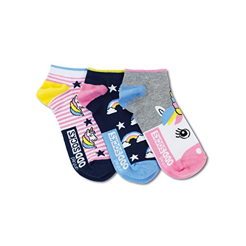 United Oddsocks - 3 Kurze Socken Damen Jungen 37-42, Modell: Einhorn L8