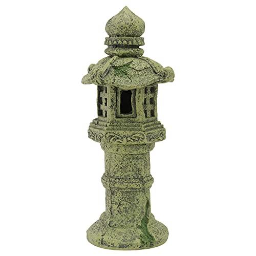 Balacoo Acuario Ornamental Resina Pagoda Japonesa Linterna Estatua Pecera Hideout Cueva Betta Habitat Hideaway Paisaje Ornamento para Peces Gambas Decoración de Acuario