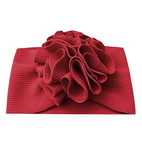 Geagodelia Turbante para bebé, niña recién nacida, cinta para el pelo, gorro de verano, elástico, lazo, nudo Flor rojo vino. Talla única