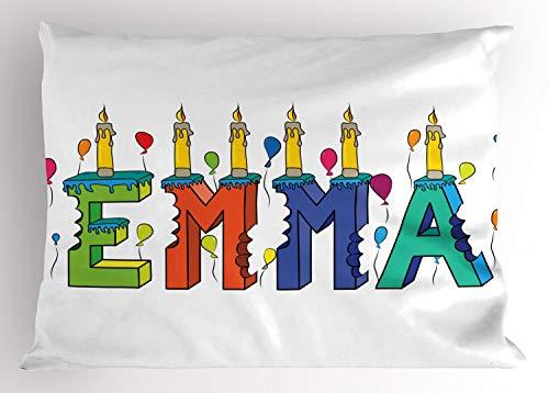 ABAKUHAUS Emma Siersloop voor kussen, Populaire Kleurrijke Naam, standaard maat bedrukte kussensloop, 90 x 50 cm, Veelkleurig