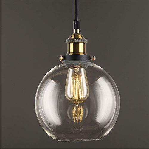 Lampadario Vintage Vetro E27 Industriale Trasparente Lampada a Sospensione in Vetro Lampadari Da Soffitto Cucina Illuminazione Decorativa-Trasparente,20cm