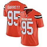 Yongge NFL Masculino Camisetas De Rugby Ropa Deportiva De Fútbol Americano Cleveland 95# Garrett Fan Unisex Estampado De Manga Corta(Size:Medium,Color:A)