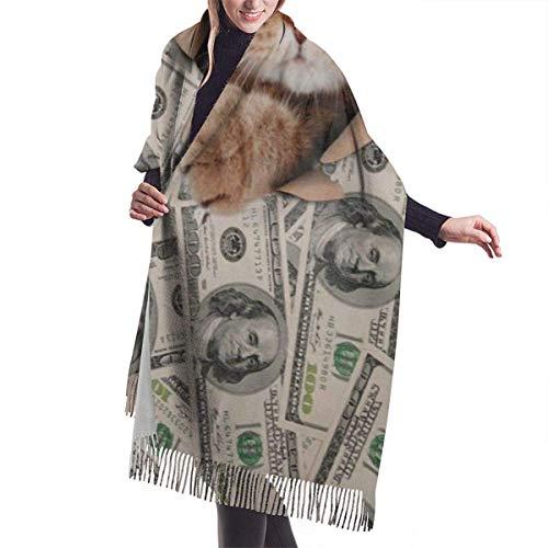 Bernice Winifred Gato gatito dólar dinero cómodo chal bufanda cachemir bufanda de invierno para mujeres hombres-negro