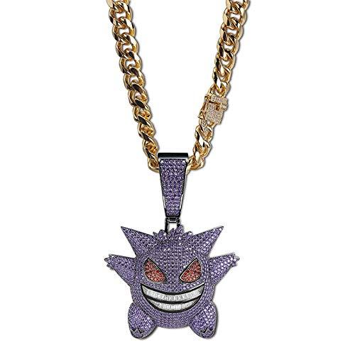 Heren Hip Hop Grote Pokemon Masker Gengar Hanger Ketting Zirkoon Bling Ice Out Chain Sieraden Rapper Gift