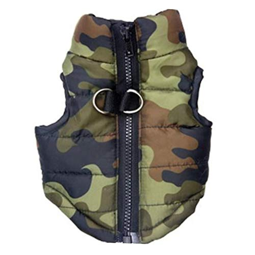 KariNao Hunde Hundejacke Winterjacken Hundemantel Wintermantel Camouflage Outfit mit D Ring (XS, Grün)