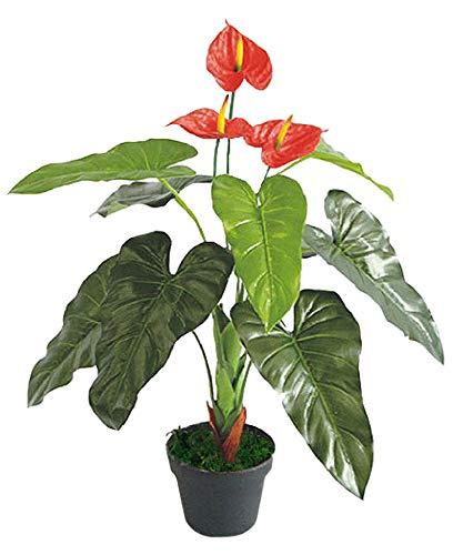 Decovego Anthurie Flamingoblume Kunstpflanze Künstliche Pflanze mit Blüten 90cm