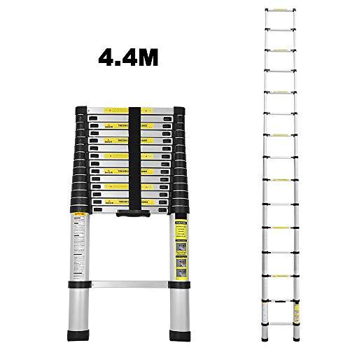 4,4M Teleskopleiter Alu Klappleiter Multifunktionsleiter Leicht zu tragen max Belastbarkeit 150 kg