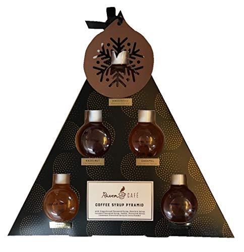 Raven Cafe Kaffeesirup Pyramidenform Geschenkset mit 6 verschiedenen Sirupen (5 verschiedene Sirupen und 1 Kakaopulver)