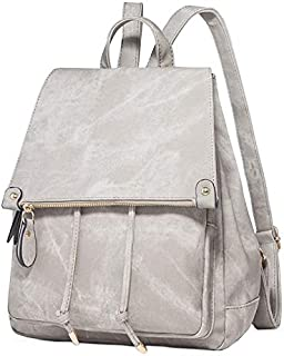 YXHM AU Women's Simple Solid Color Large Capacity Soft Face Pu Leather Polyester Travel Backpack (Color : White)