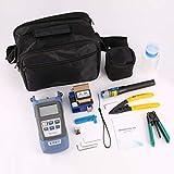 XUQI FTTH Kit de Herramientas de Fibra óptica Fiber Cleaver FC-6S Medidor de Potencia óptica Cable Pelacables Localizador de fallas visuales 5mW