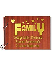 Look Decor Family Today Artworks Wooden Photo Album Scrap Book with 10 Butterfly 3D Acrylic Sticker 40 Pages Plus 2 Glitter Golden Paper Sheets - Size (22 cm x 16 cm) Gift Item