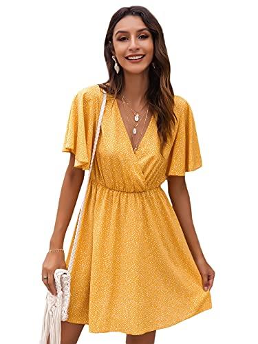 Romwe Women's Short Sleeve V Neck All Over Print High Waist A Line Summer Short Dress Light Yellow L