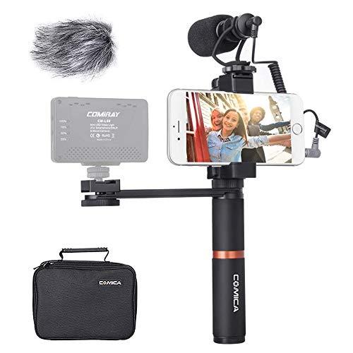 Comica Smartphone Video Kit CVM-VM10-K4 Filmemacher Griff Griff mit Shotgun Video Mikrofon Video Rig für iPhone X 8Plus 8 7Plus 7 Samsung Huawei etc.