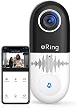 eRing Video Doorbell Wi-Fi Smart, 1080P HD Home Security Camera with Real-Time Video, 2-Way Audio, Motion Detection, Night Vision, (Existing Doorbell Wiring Required) RENPHO Smart APP for iOS Android
