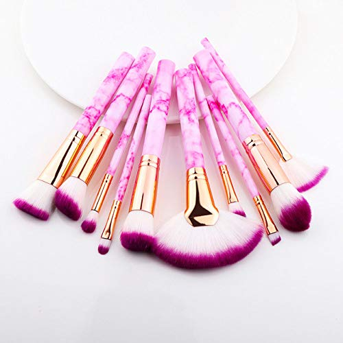 MLYJC Pinceaux Maquillage kit Pinceaux de maquillage Multifonctionnel Pinceau de maquillage Correcteur Fard à paupières Fondation Maquillage Brush Set Tool, Sector 10Pcs rose