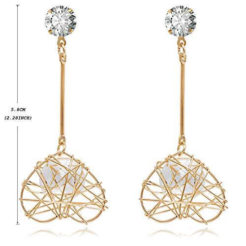 HK Malla de Oro Ear Colgante Hueco Pendientes de Diamantes de Imitación Simples