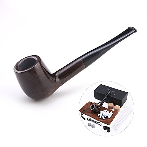 Futeng handmade straight stems ebony wooden smoking tobacco pipe with accessories (Filter Elements, Filter Balls, 3 in 1 scraper, pipe cleaners, pipe tip grips, bag, gift box) (Wood grain)