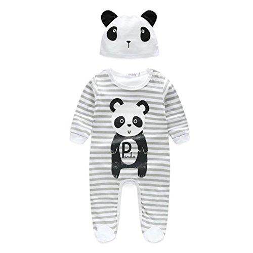 Ouneed® 0-2 Ans Unisex Bebe Panda Coton Grenouillères Ouverture Devant a macnhes Longues + Bonnet (70)