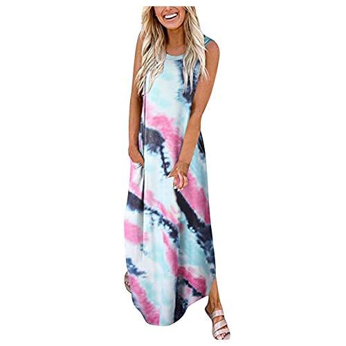 TYTUOO Maxivestido para mujer, estampado lateral, con bolsillos divididos, sin mangas, para verano, vestido largo, casual, suelto, camiseta