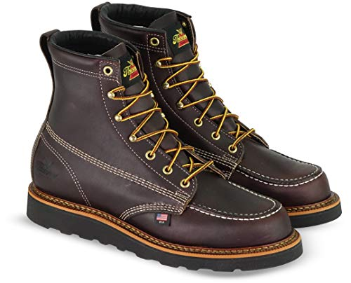 Thorogood Men's 814-4266 American Heritage 6' Moc Toe, MAXwear Wedge Non-Safety Toe Boot, Black Walnut - Black Sole - 8 D US