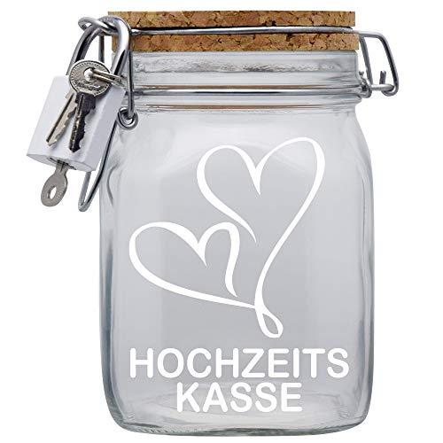 Hochzeits-Heirats-Kasse XXL-Spardose mit Vorhängeschloss in Weiss/Geld-Geschenk/mit Korkdeckel und Sparschlitz Transparent