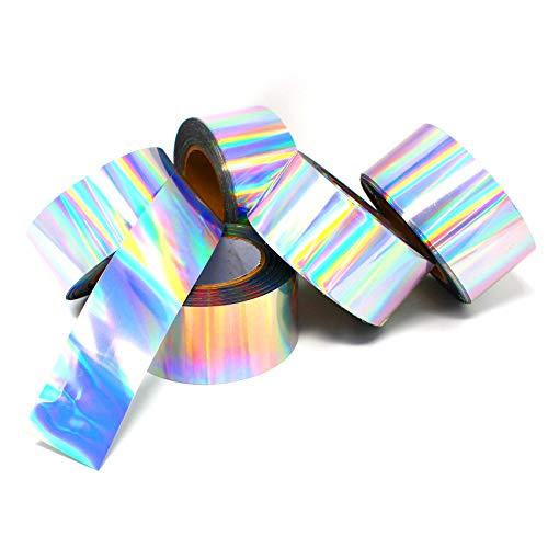 50m x 6 cm Folienband Clear Back Hologramm Folie Abschnitt Oilslick Silber Regenbogen Effektfolie Bastelfolie Klebefolie Aufkleber Basteln DIY