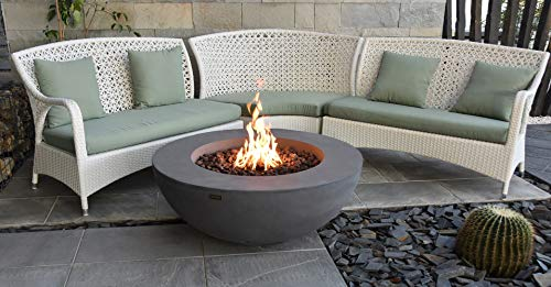 Elementi Lunar Bowl Outdoor Fire Pit Table 42 Inches Round Firepit Concrete Patio Heater Electronic Ignition Backyard Fireplace Cover Lava Rock Included, Liquid Propane