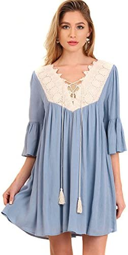 Umgee Women s Boho Bohemian Vintage Chic Crepe Lace 3 4 Bell Sleeve Dress Coral M product image