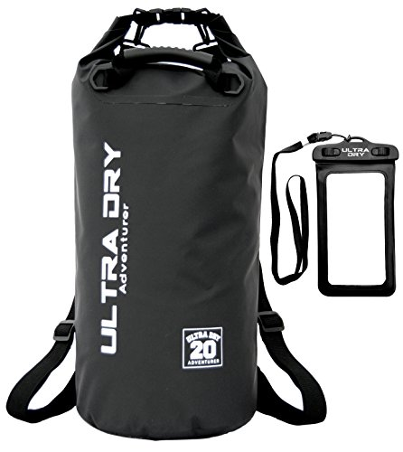 Premium Waterproof Bag, Sack with Phone Dry Bag and Long Adjustable Shoulder Strap Included (Black, 10 L)
