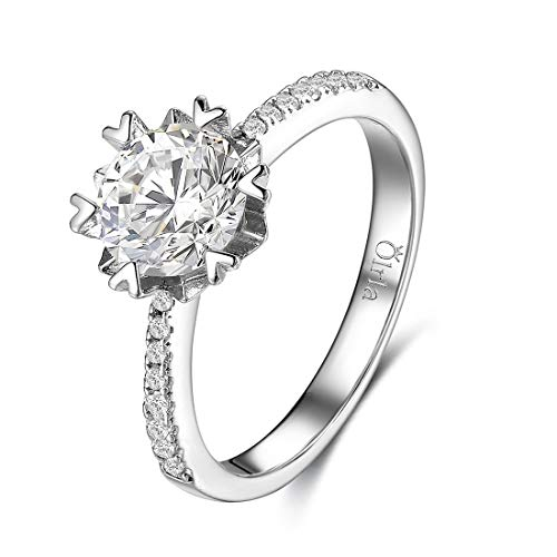 Olrla 6 heart prong 1.0 carat certified moissanite verlobungs eternity-ring für sie sie- größe 57