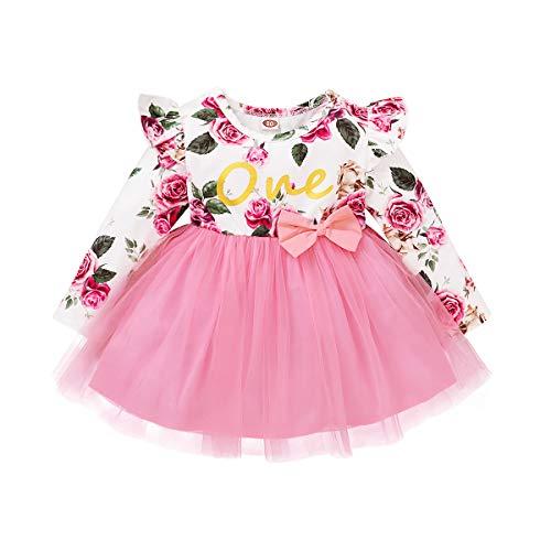 FYMNSI Vestido de manga larga para bebé con estampado floral de algodón, tutú, vestido de princesa, vestido de fiesta, otoño, para sesiones de fotos. Rosa. 6 Meses