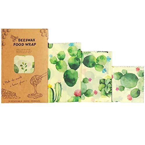 Beeswax Wrap Bijenwasdoek, set van 3 stuks, voor de conservering van levensmiddelen, wasdoeken, waspapier van natuurlijke bijenwas en katoen, herbruikbaar, wasbaar, waspapier