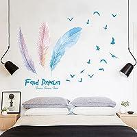 青い羽鳥の壁のステッカーリビングベッドルームの装飾プルーム自己接着ウォールステッカー壁画アートポスターPVCホームデカール