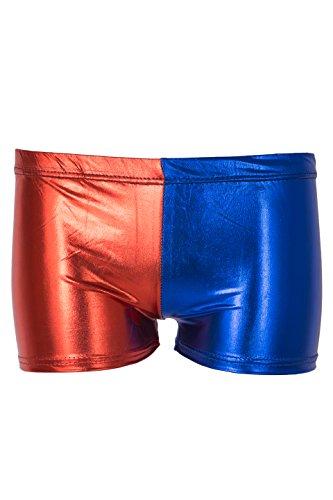 NOROZE Femmes Contraste Couleur Shorts Dames 2 Ton Chaud Pantalons Hot Pants (Rouge Bleu 002, 44)