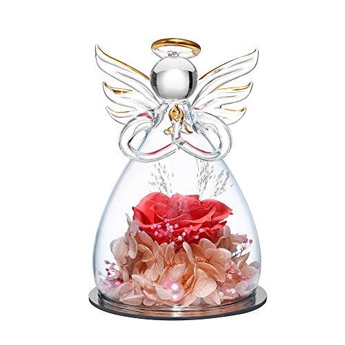 Für immer Rose in Engel Glaskuppelfiguren Künstliche Blume - Ewige handgemachte Blumen Galaxie Dark Rouge Pink Rose Einzigartige Geschenke für Frauen Weihnachten Valentinstag Jubiläum Geburtstag