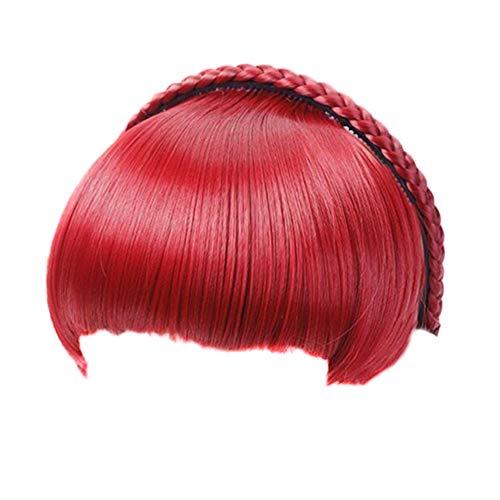 Fanville Bang en Braid Hoofdband Haarverlenging Hittebestendige Synthetische Vezel Pony Pruiken