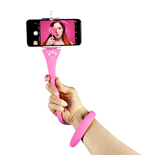 MONKEYSTICK rosa - Biegsamer Selfie Stick für Handy & GoPro/Flexibles Stativ/rutschfeste Silikon Beschichtung
