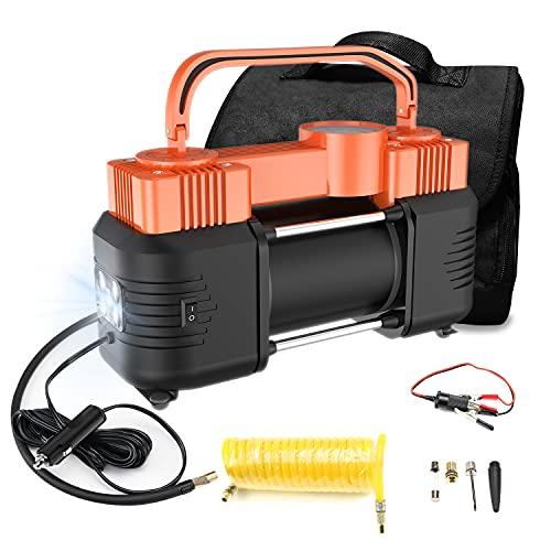 USTAR Dual Cylinder Cigarette Lighter Air Compressor Pump for Truck Car RV SUV Vehicles, 12V 150PSI Truck Tire Inflator, Portable 12 Volt Off-Road Tire Pump with Mechanic Gauge, LED Light Air Bed