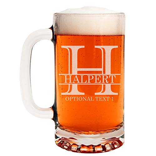 Personalized Etched Monogram 16oz Glass Beer Mug | Halpert